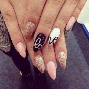 Nádherných 22 tipů, jak Vaše nehty připravit na Den ... Almond Nails Tumblr